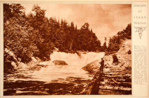 1923 Rotogravure Fly Fishing Fisherman Mountain Stream Rapids Outdoor Sport
