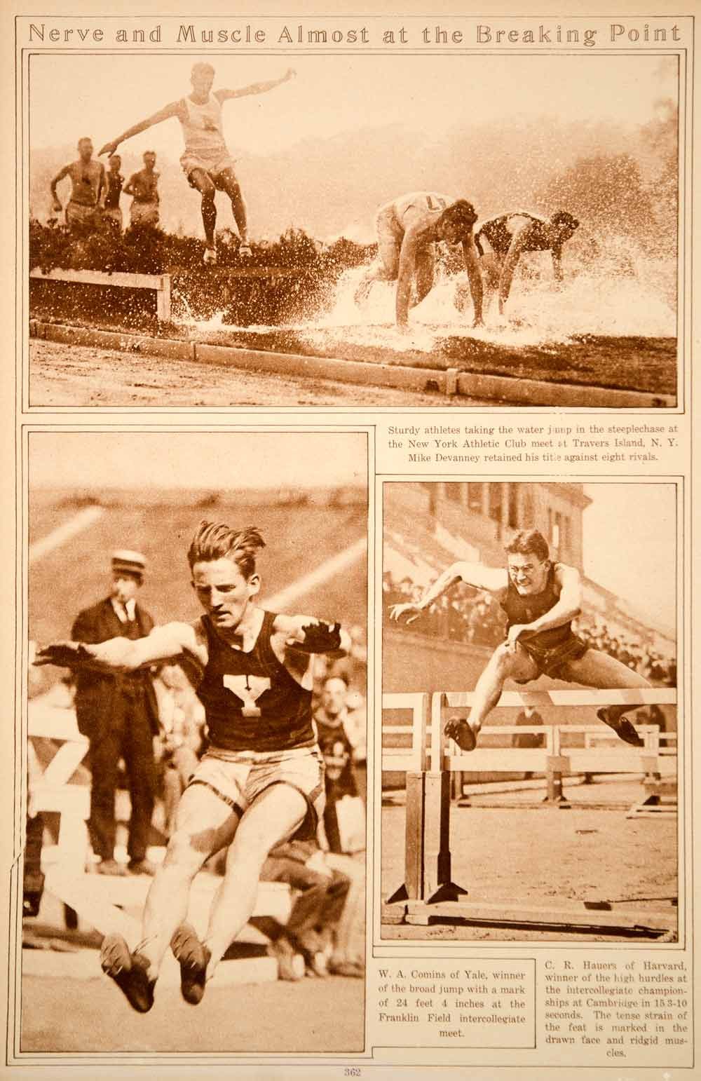 1923 Rotogravure Track Field Athletes Championship Events Broad Jump Hurdles
