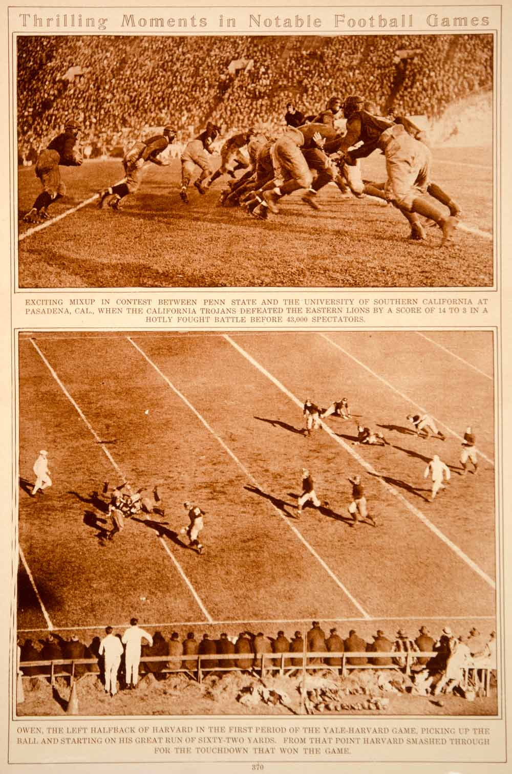 1923 Rotogravure College Football Games Players George Owen Harvard Penn State