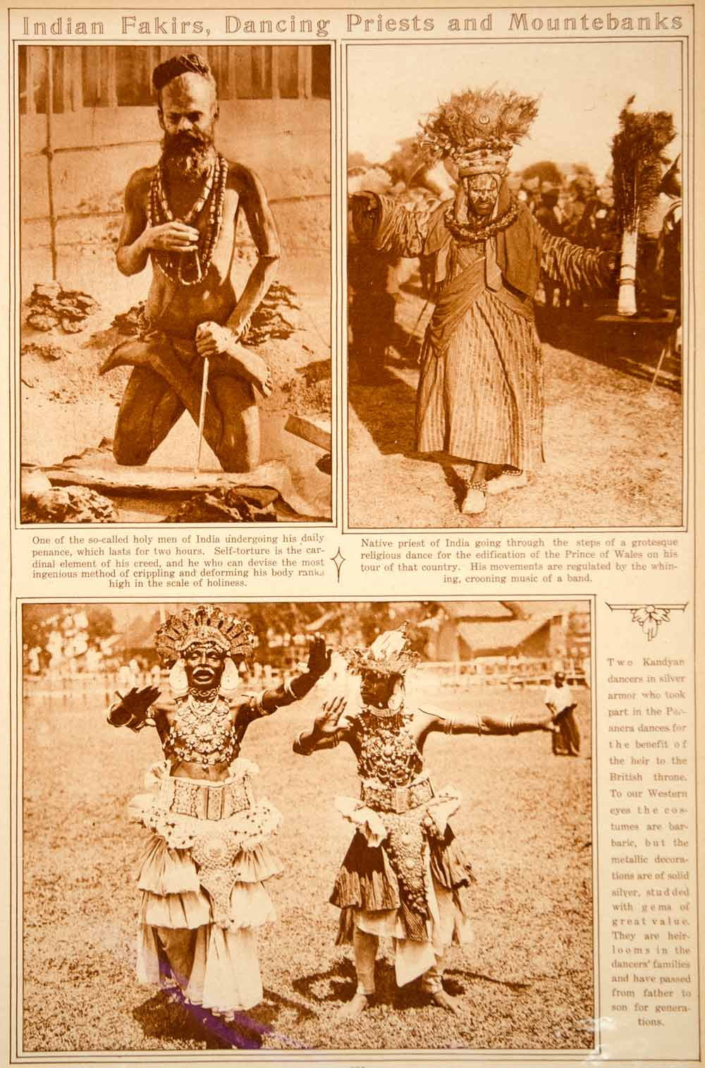 1923 Rotogravure India Indian Fakir Holy Man Priest Kandyan Dancers Costume