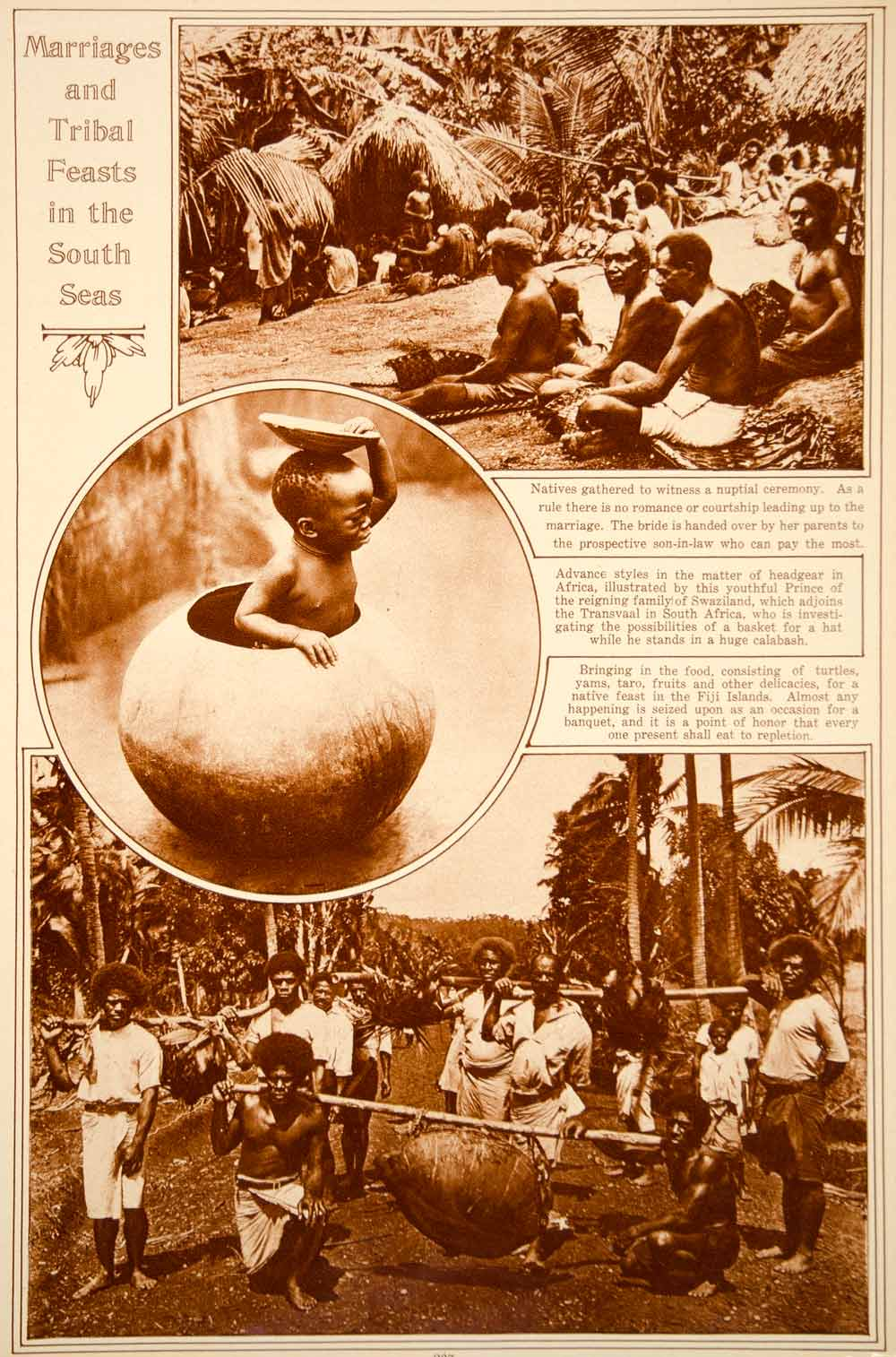 1923 Rotogravure South Seas Ethnic People Marriage Ceremony Feast Fiji Islands