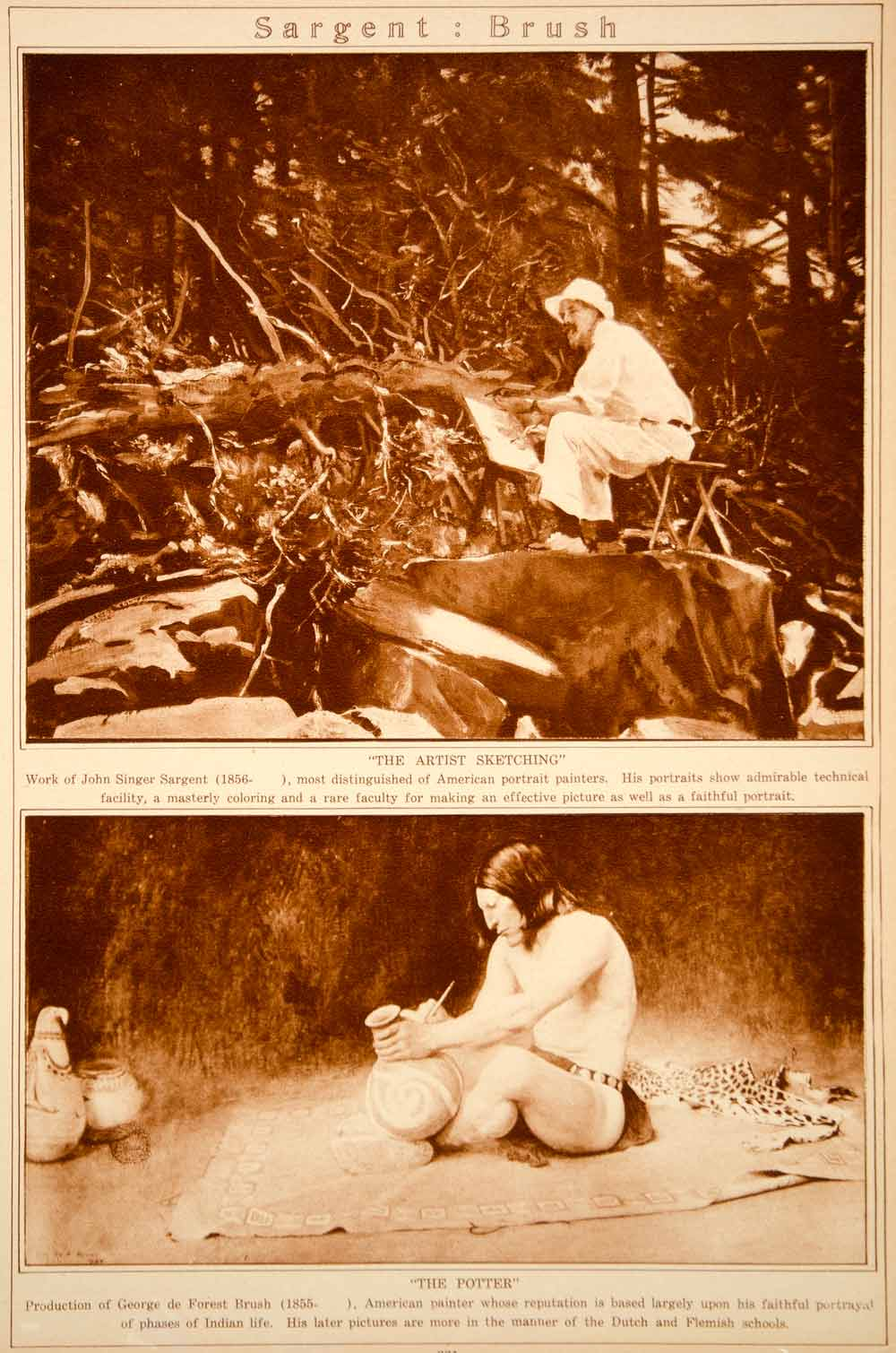 1923 Rotogravure John Singer Sargent George de Forest Brush Indian Potter Art