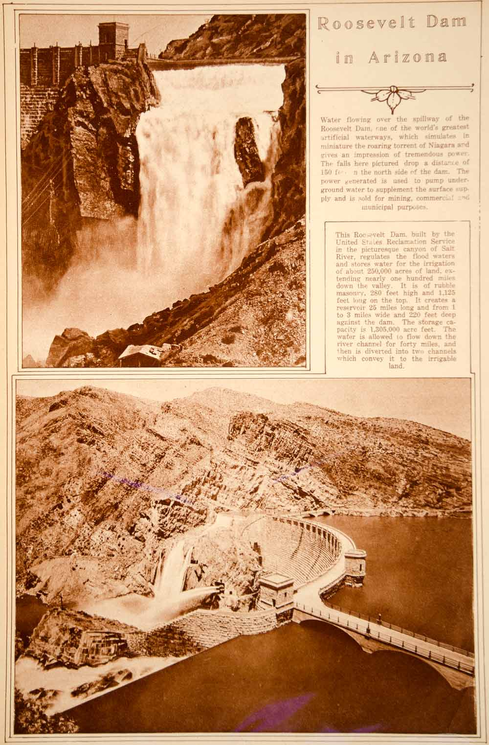 1923 Rotogravure Theodore Roosevelt Dam Salt River Arizona Water Land Irrigation