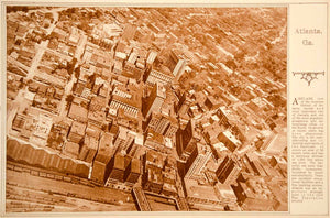 1923 Rotogravure Atlanta Georgia Aerial View City Business District Historic