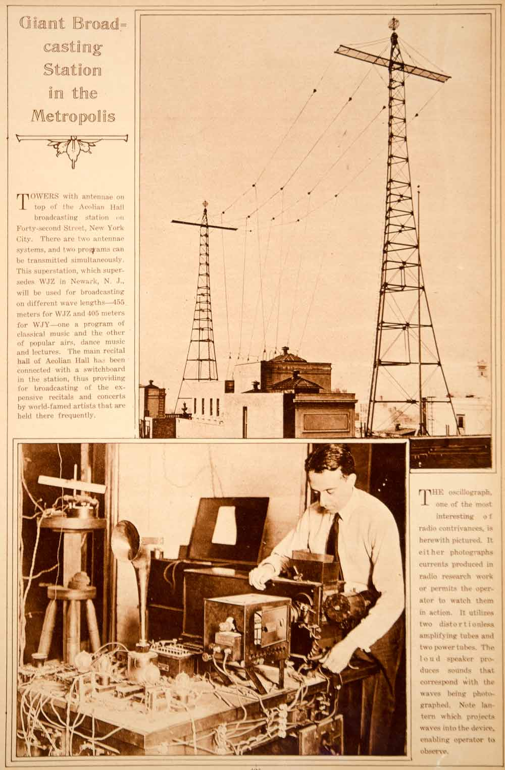 1923 Rotogravure Radio WJZ WJY Antenna Towers Aeolian Hall Roof NYC Broadcasting