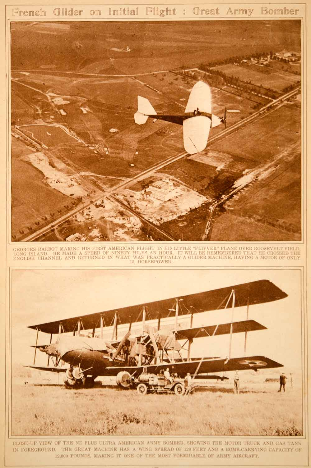 1923 Rotogravure Aviator Georges Barbot American Army Bomber Aviation Historic