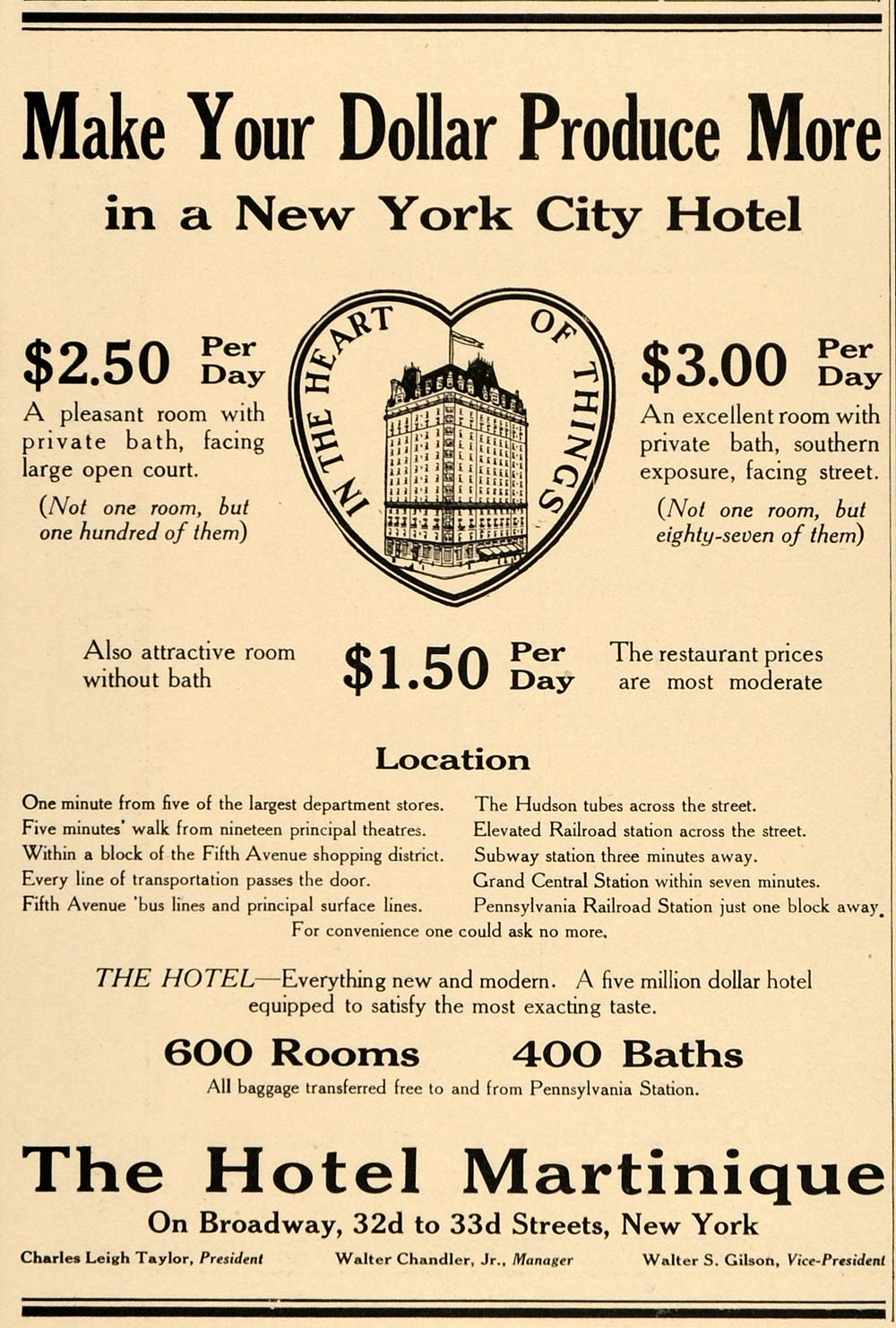 1915 Vintage Ad Hotel Martinique Broadway New York City - ORIGINAL SA1B