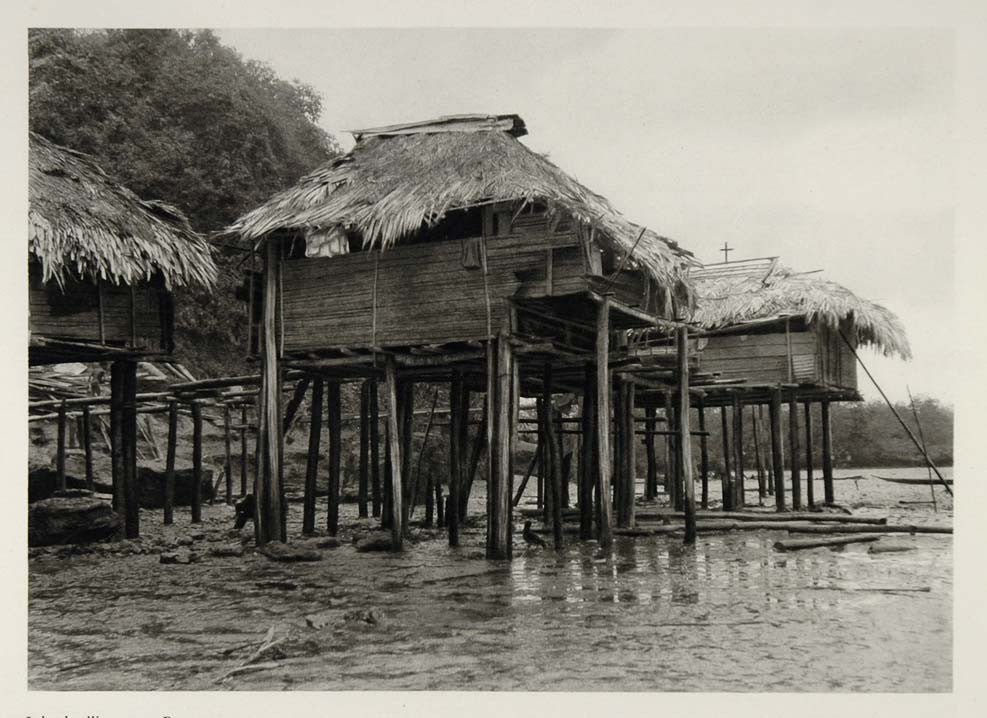 1931 Houses on Silts Buenaventura Colombia Photogravure - ORIGINAL SA2 - Period Paper