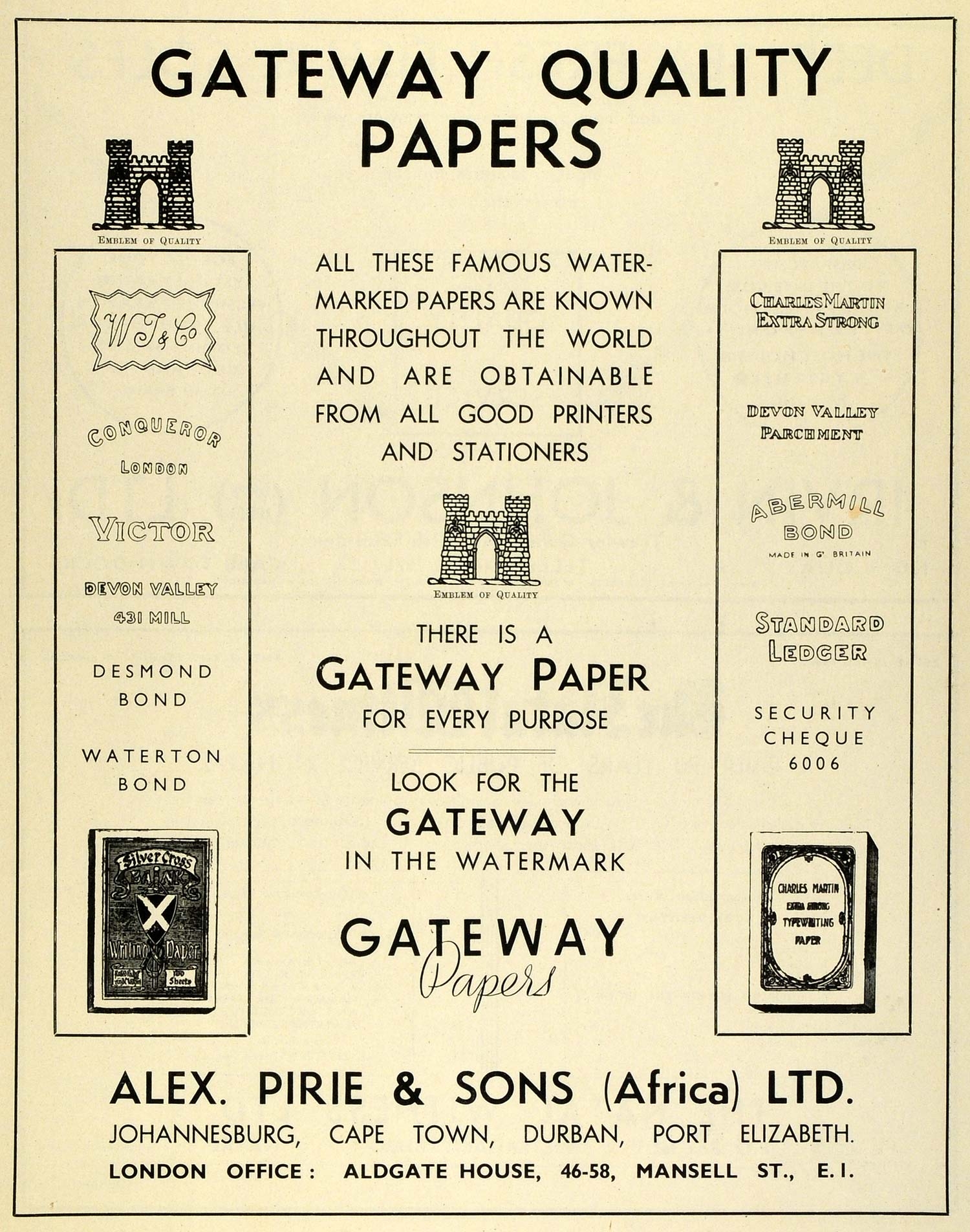 1939 Ad Alex Pirie & Sons Gateway Papers Johannesburg South Africa Bond SAA1