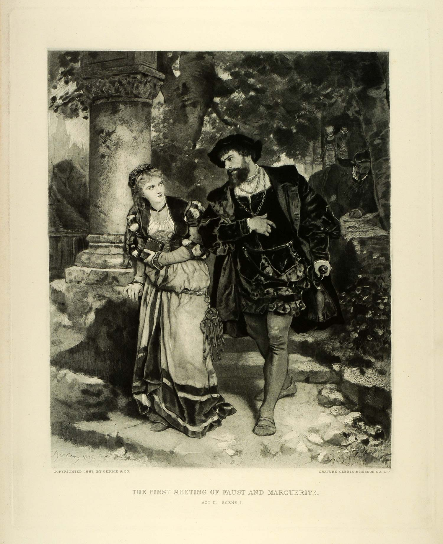 1887 Photogravure Faust Marguerite Goethe Stage Play Theatre Scene Carl SAS1