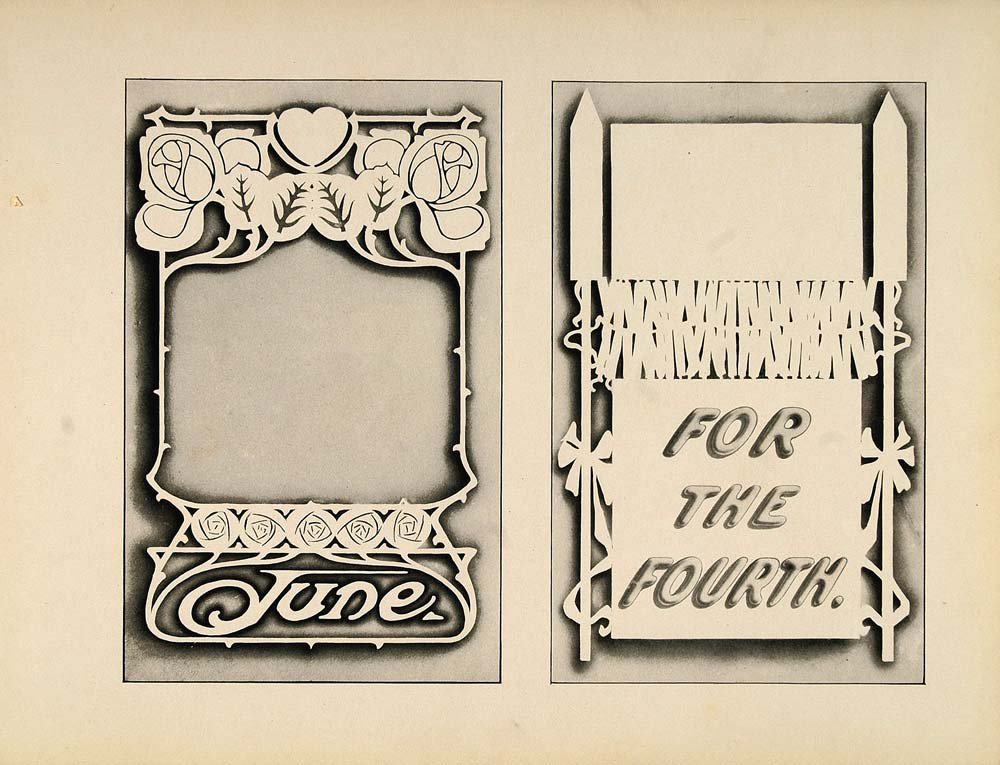 1910 Print Design Template Fourth of July Art Nouveau - ORIGINAL SB1
