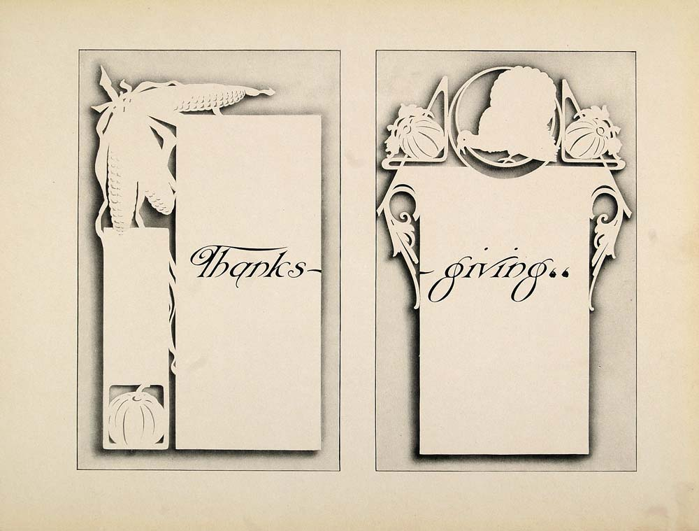 1910 Print Design Template Art Nouveau Thanksgiving - ORIGINAL SB1