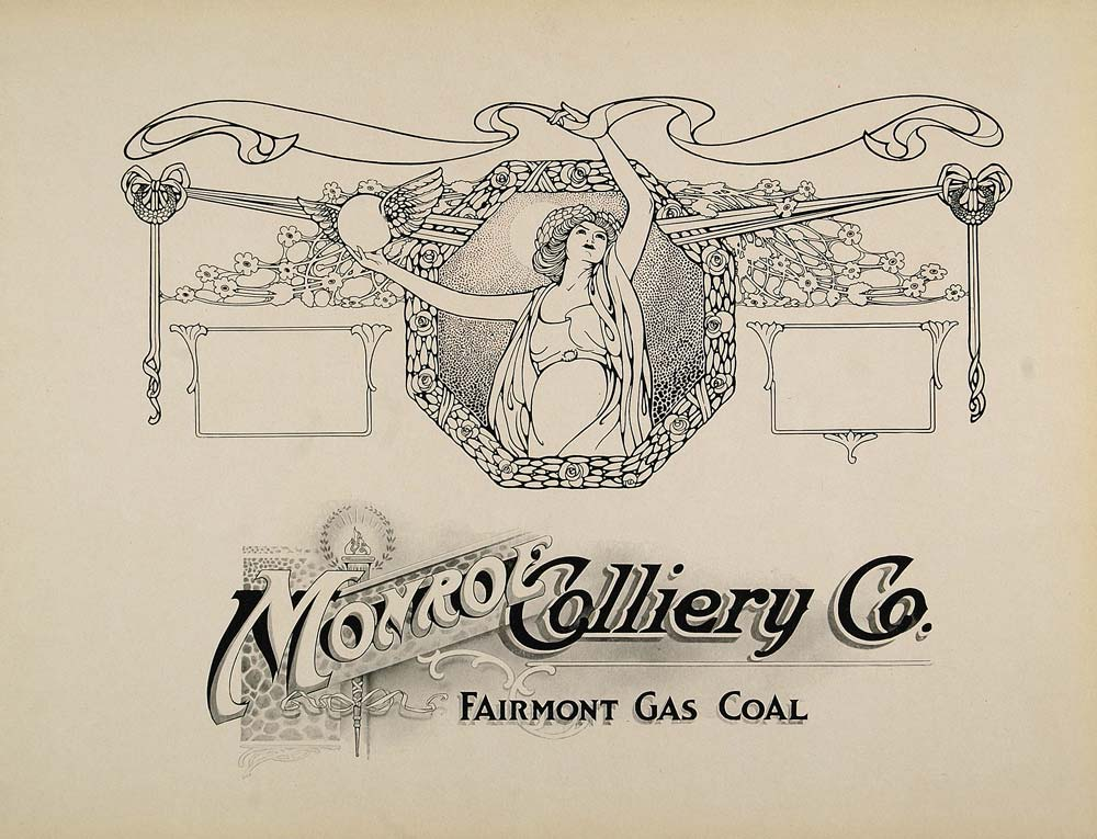 1910 Print Ad Design Monroe Colliery Art Nouveau Woman - ORIGINAL SB1