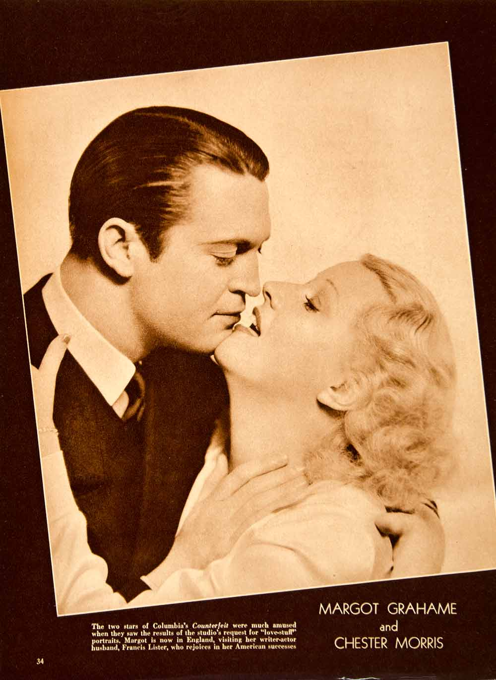 1936 Rotogravure Margot Grahame Chester Morris Counterfeit Romance On SBM1