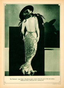 1934 Rotogravure Lupe Velex Hollywood Party Backless Dress Firebrand SBM1 - Period Paper