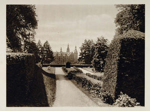 1924 Box Hedges Frederiksborg Castle Gardens Denmark - ORIGINAL PHOTOGRAVURE SC1