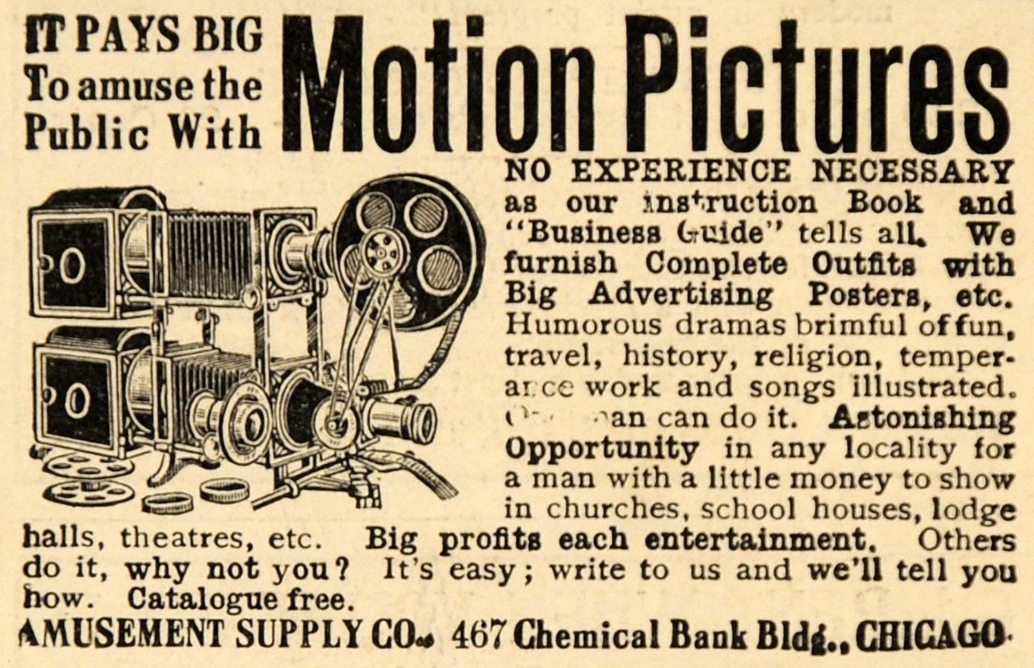 1907 Ad Amusement Supply Co. Motion Pictures Device - ORIGINAL ADVERTISING SCA2
