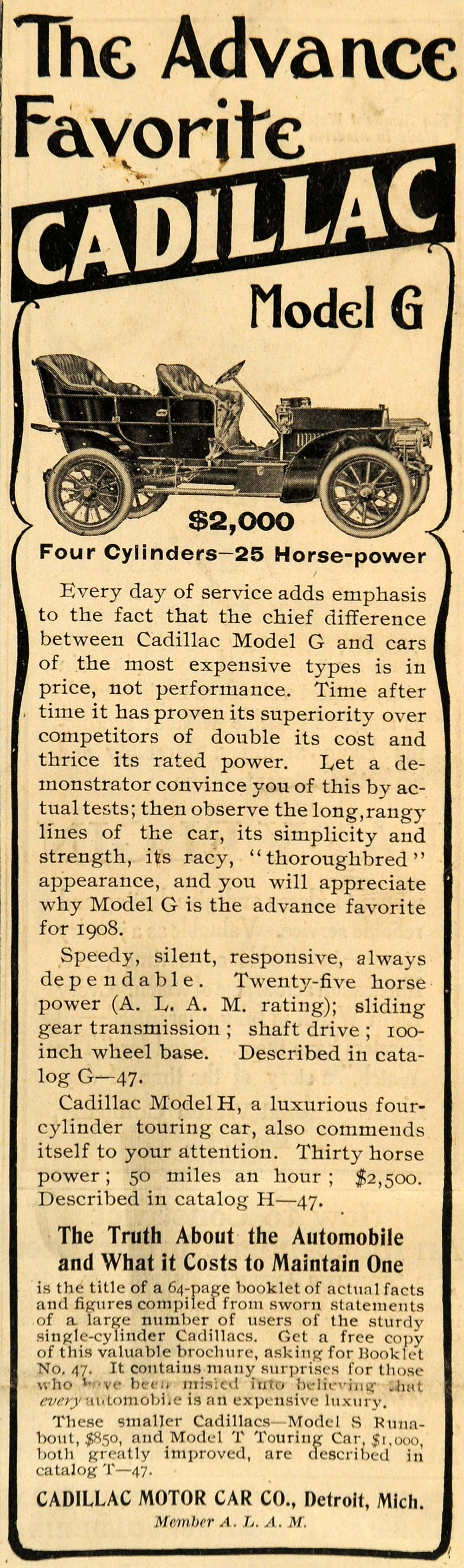 1907 Ad Cadillac Motor Car Co. Model G Car Automobile - ORIGINAL SCA2