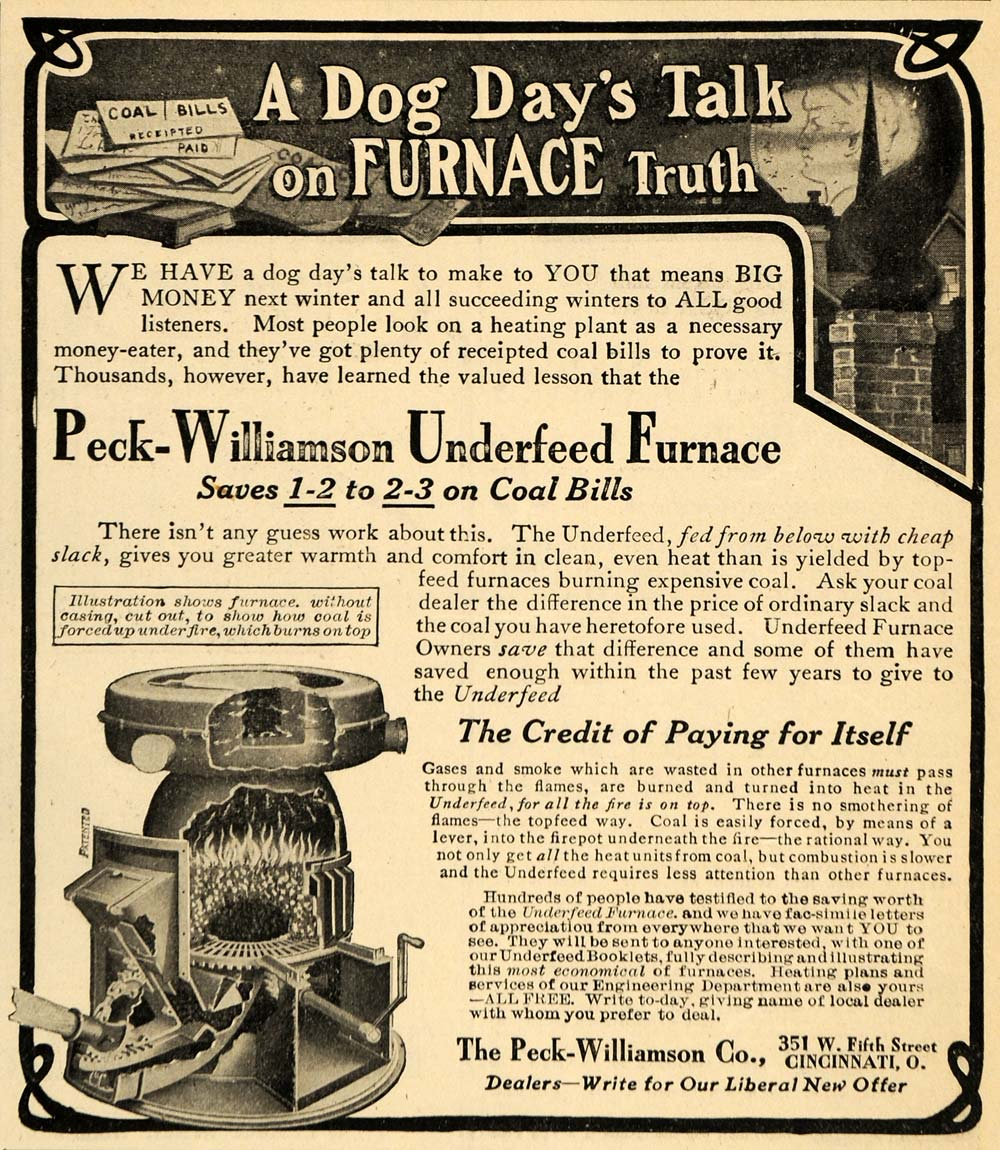 1907 Ad Peck-Williamson Co. Underfeed Furnace Coal - ORIGINAL ADVERTISING SCA2