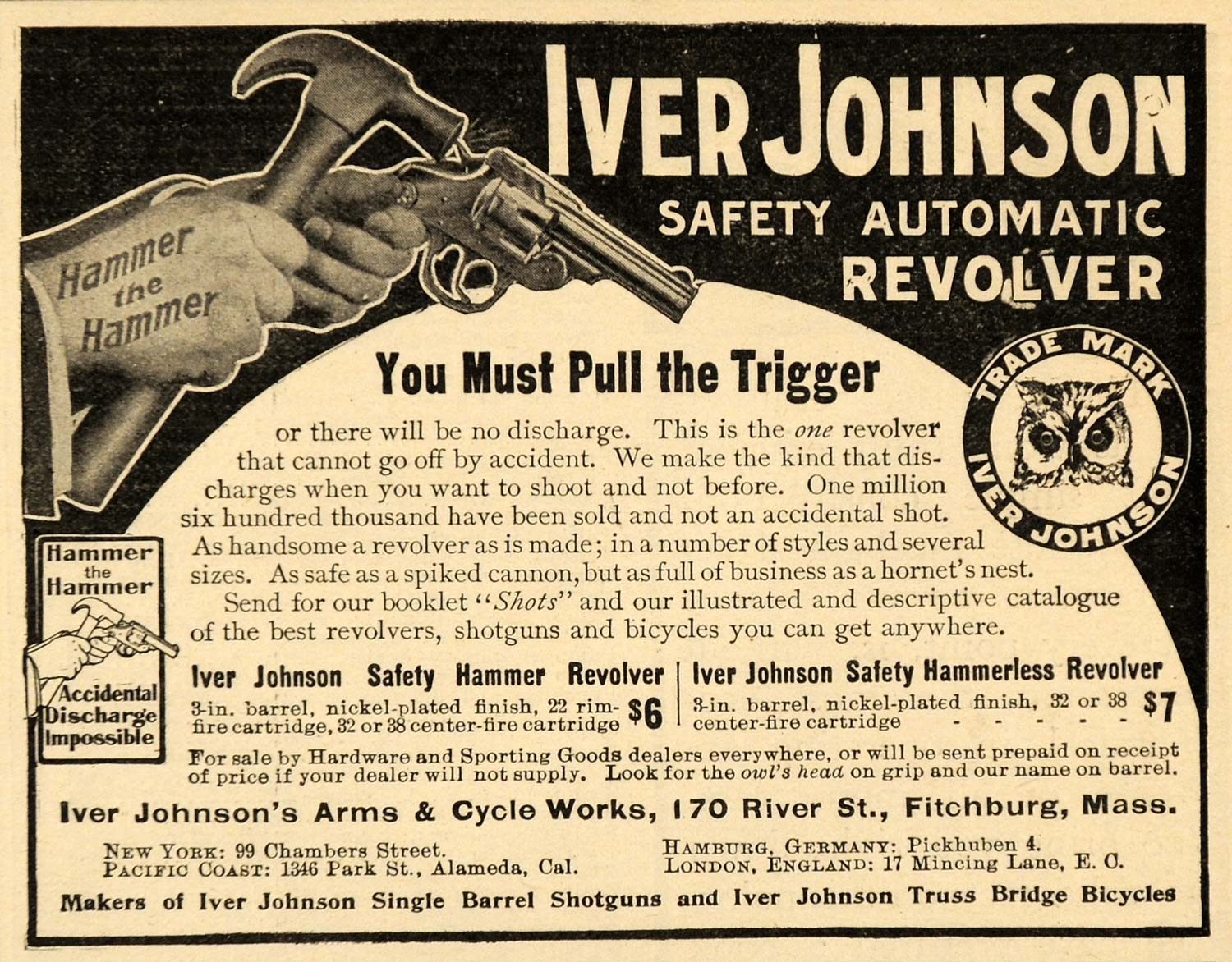 1907 Ad Iver Johnson Arms Cycle Work Safety Fitchburg Revolver Gun SCA2
