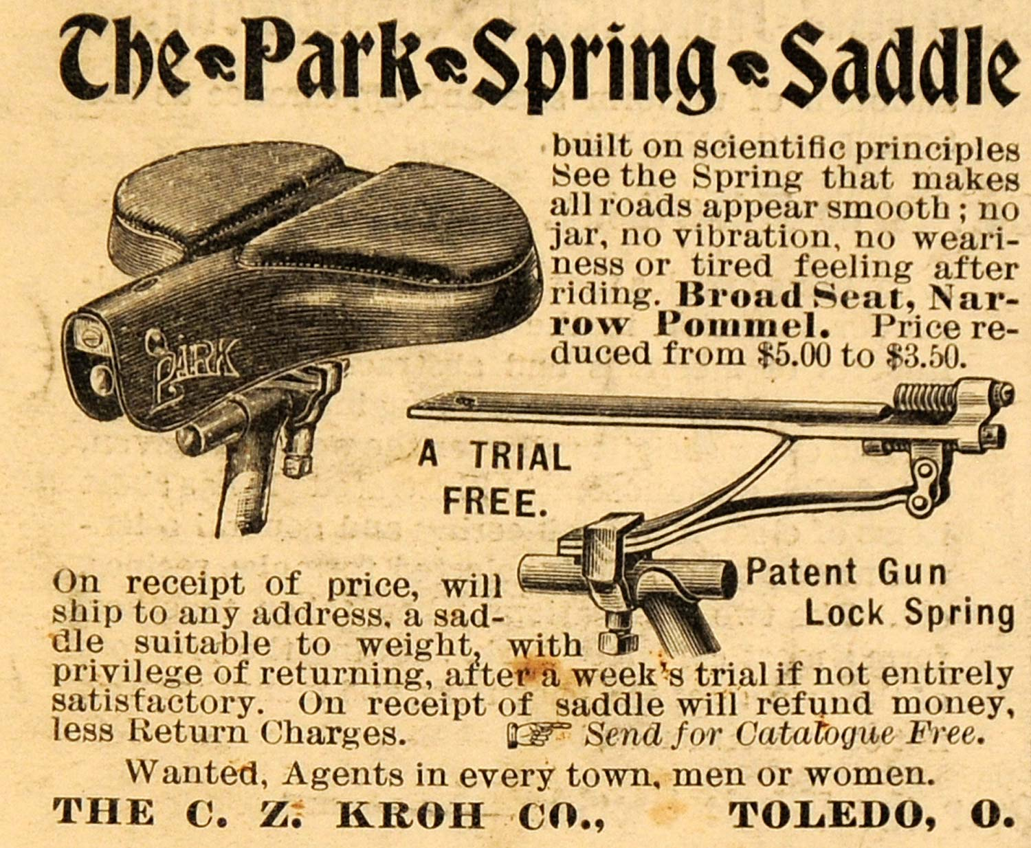 1898 Ad C Z Kroh Co Park Spring Saddle Bicycle Parts - ORIGINAL ADVERTISING SCA2
