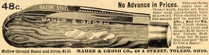 1899 Ad Antique Maher Grosh Razor Steel Shaving Knife Blades SCA2