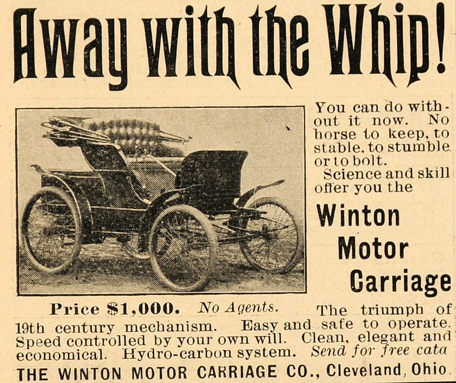 1899 Ad Winton Motor Carriage Co  Hydro-Carbon System - ORIGINAL SCA2