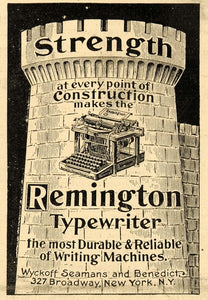 1899 Ad Wyckoff Seamans & Benedict Typewriter Castle - ORIGINAL ADVERTISING SCA2