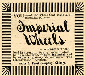1899 Ad Ames & Frost Co. Imperial Wheels Chicago IL - ORIGINAL ADVERTISING SCA2