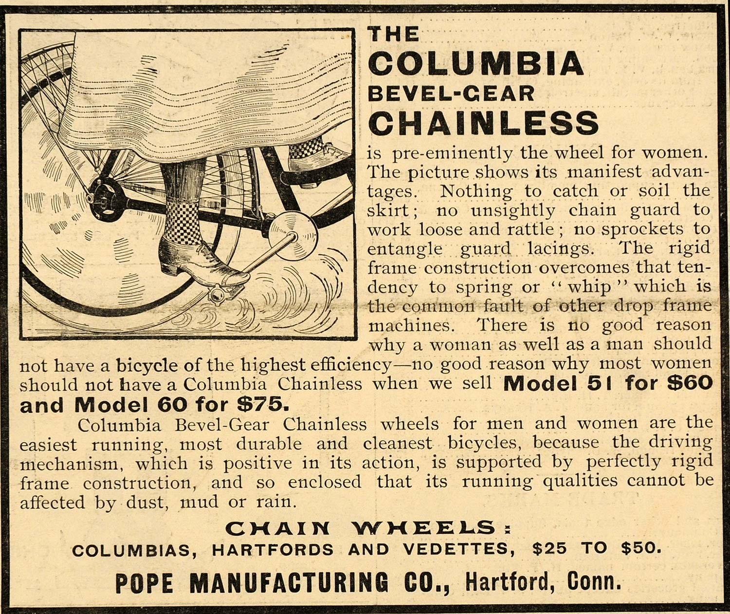 1899 Ad Antique Pope Columbia Bevel Gear Chainless Bicycles Hartford SCA2