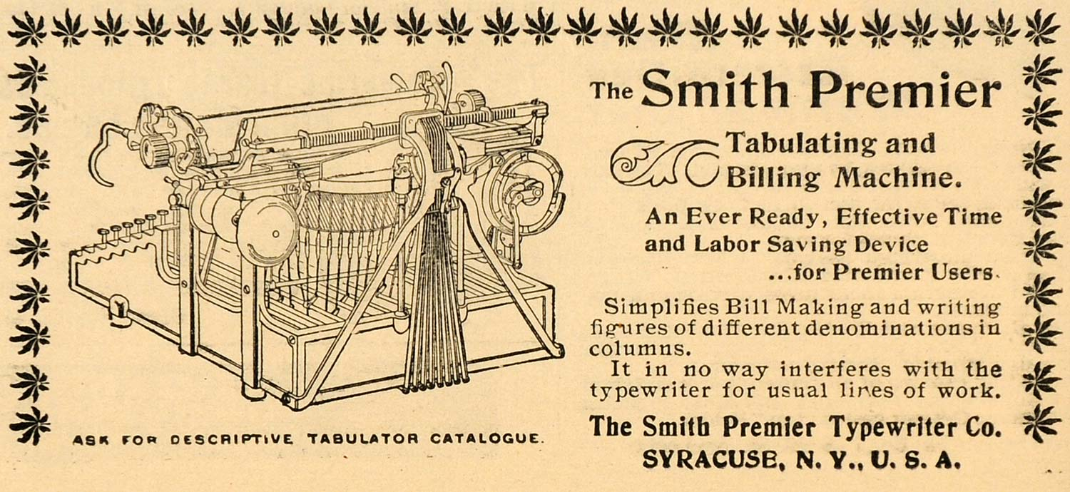 1899 Ad Antique Smith Premier Typewriter Writing Machine Syracuse New York SCA2