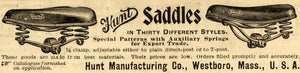 1899 Ad Hunt Saddles Bicycle Parts Antique Bike Seats Westboro SCA2