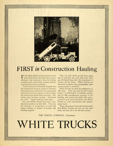 1920 Ad Transportation Antique White Truck Cleveland Load Excavation SCA3