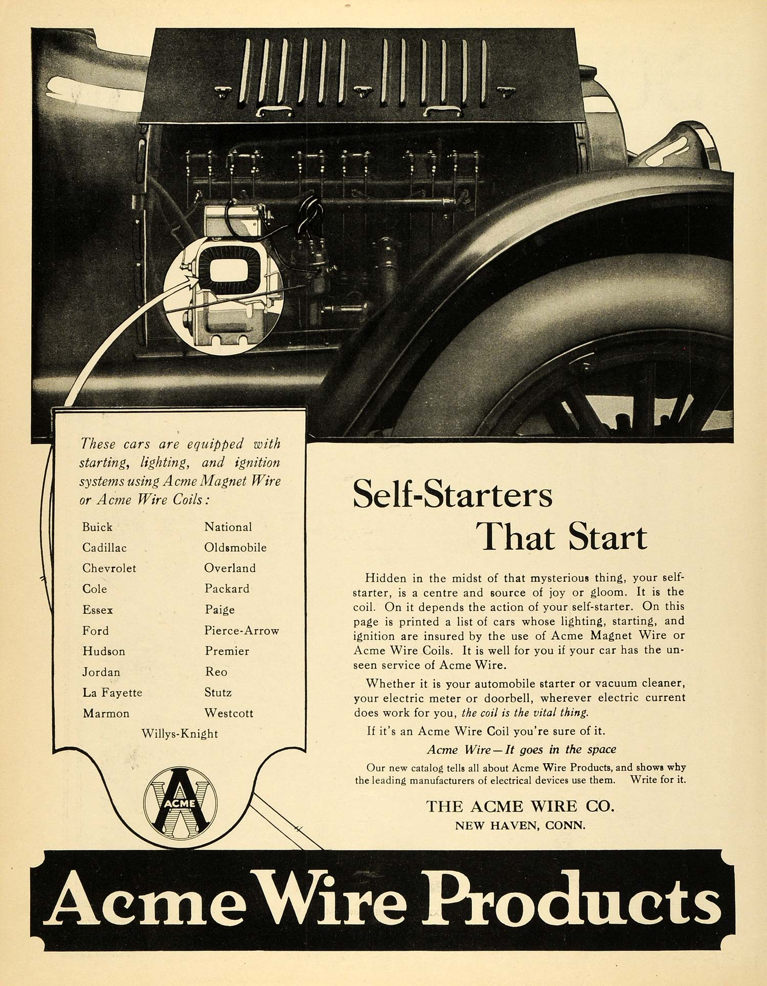 Vintage Advertising Art Page 35 Period Paper Sca Engine Wiring Harness 1920 Ad Acme Logo Wire Products New Haven Connecticut Magnet Coils Sca3