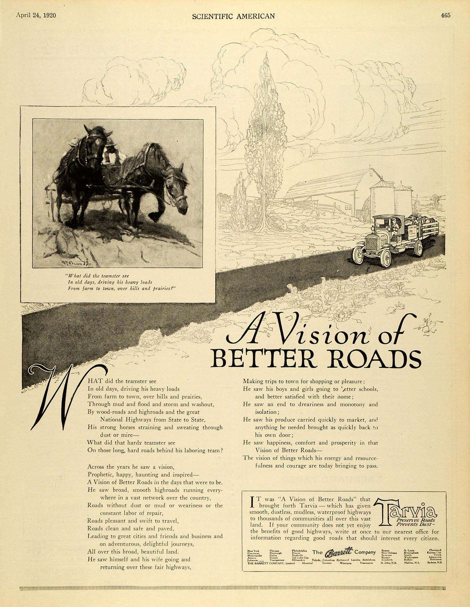 1920 Ad Barret Co Tarvia Countryside Teamster Wagon Horse Barn Road Rural SCA3