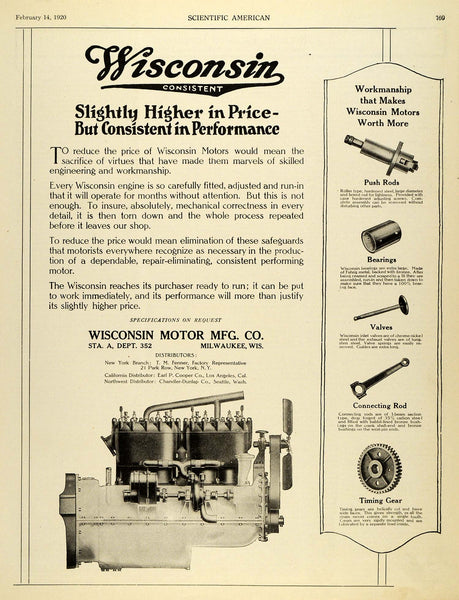1920 Ad Wisconsin Motor Co Milwaukee Push Rods Bearings Valves Timing Gear  SCA3