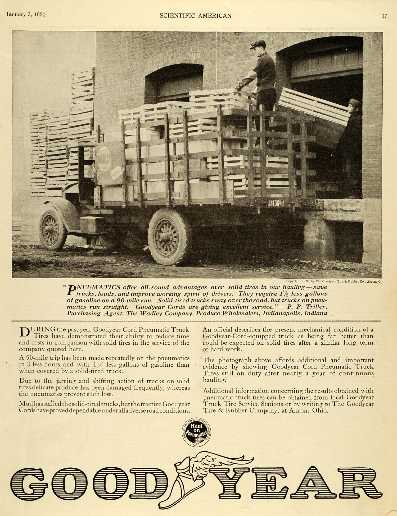 1920 Ad Good Year Cord Pneumatic Truck P P Triller Agent Wadley SCA3