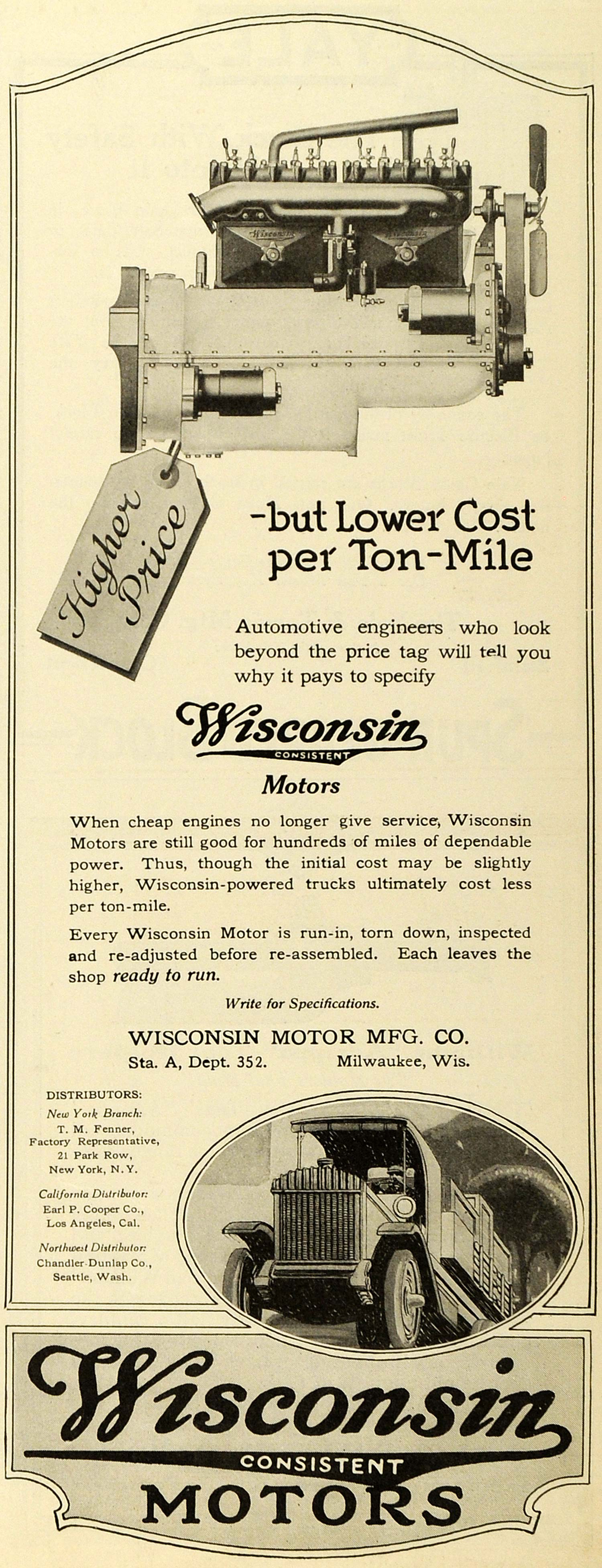 1920 Ad Vintage Engine Truck Vehicle Parts Wisconsin Motors Milwaukee Cars SCA3