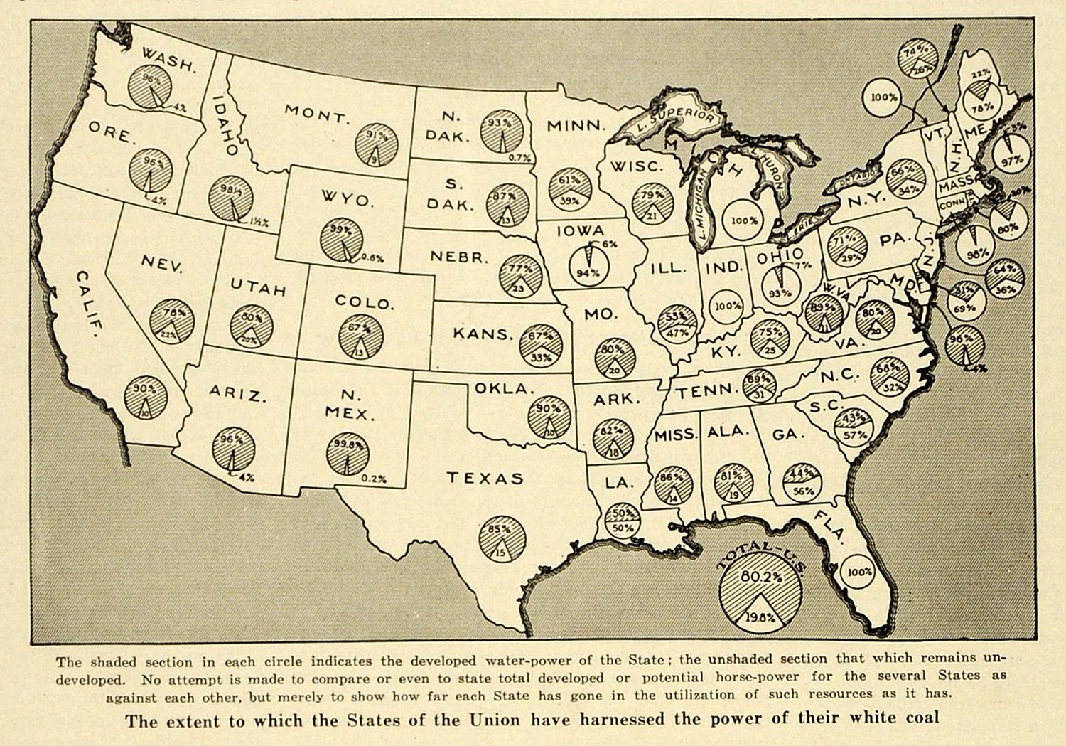 Print United States Map Union Water Power White Coal States - Map of us 1920