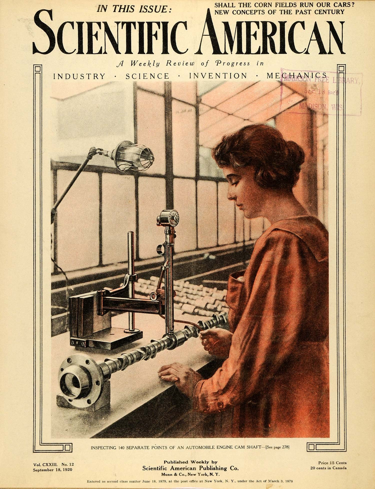 1920 Cover Scientific American Invention Woman Worker Inspecting Auto SCA3