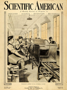 1920 Cover Scientific American Assembly Line Workers Automobile Factory SCA3