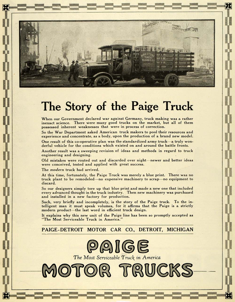 1919 Ad Paige Motor Trucks Detroit Vintage Firestone Tire & Rubber Co SCA3