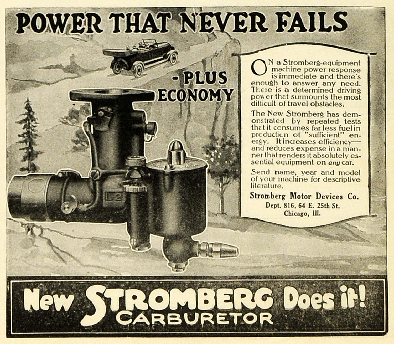 1919 Ad Stromberg Motor Devices Chicago lL Equipment Power Machine Fuel Car SCA3