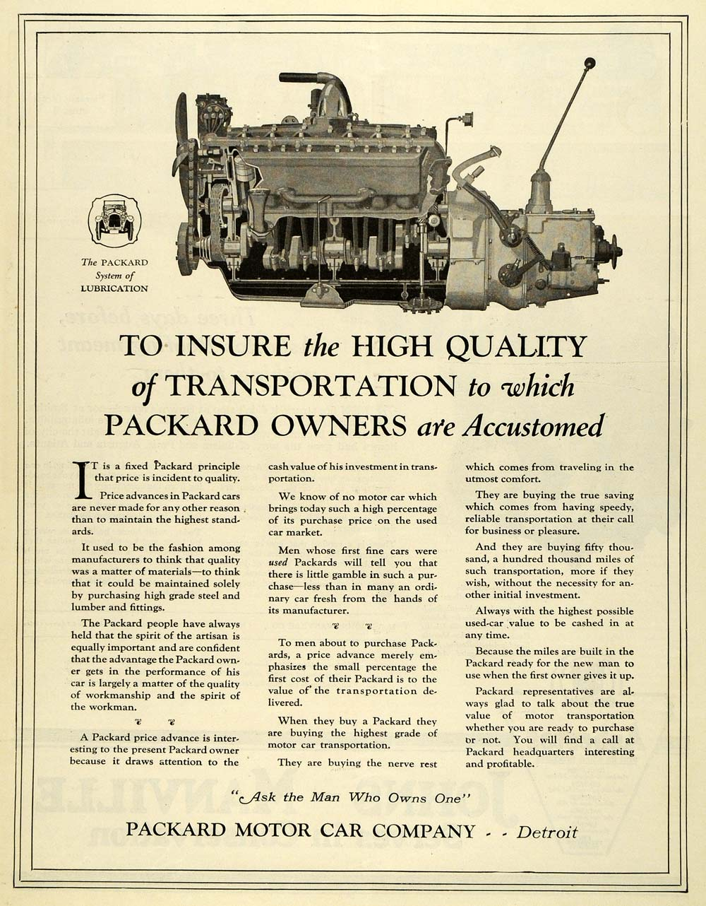 1919 Ad Packard Motor Car Detroit Michigan Transportation Automobile SCA3