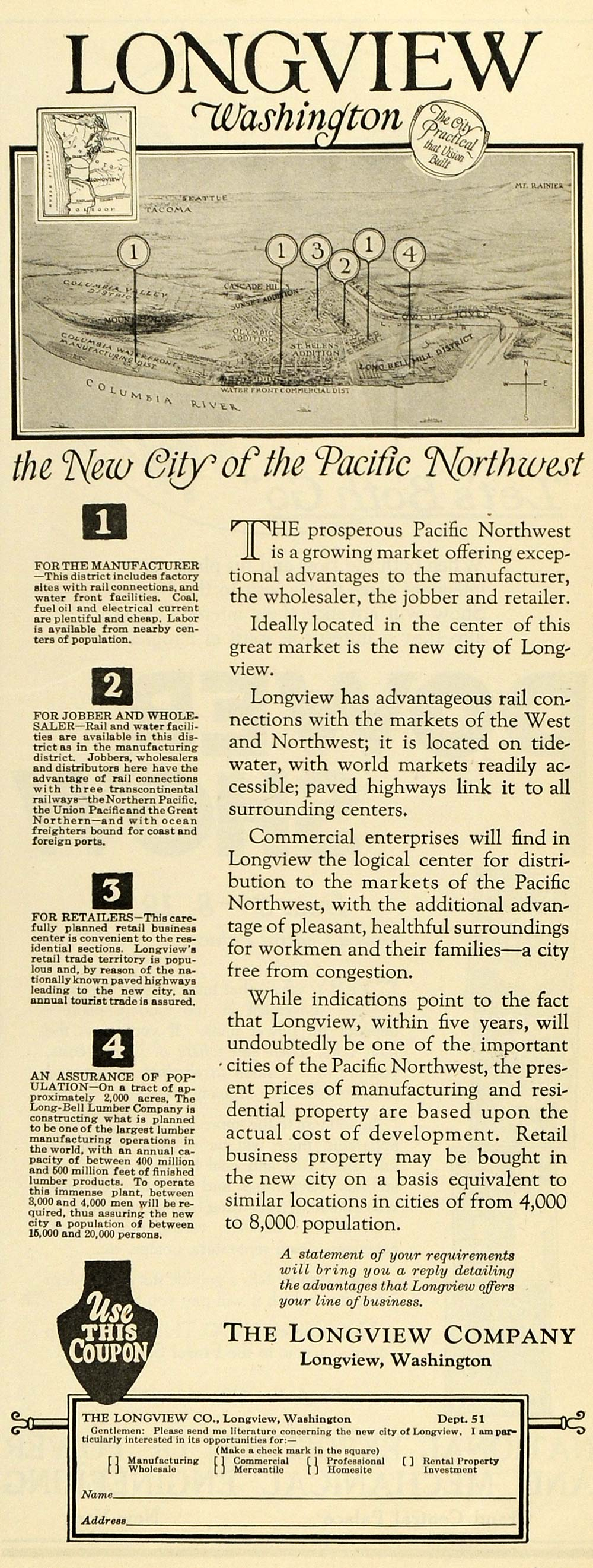 1923 Ad Longview Washington Columbia River Pacific Northwest Seattle Mt SCA3