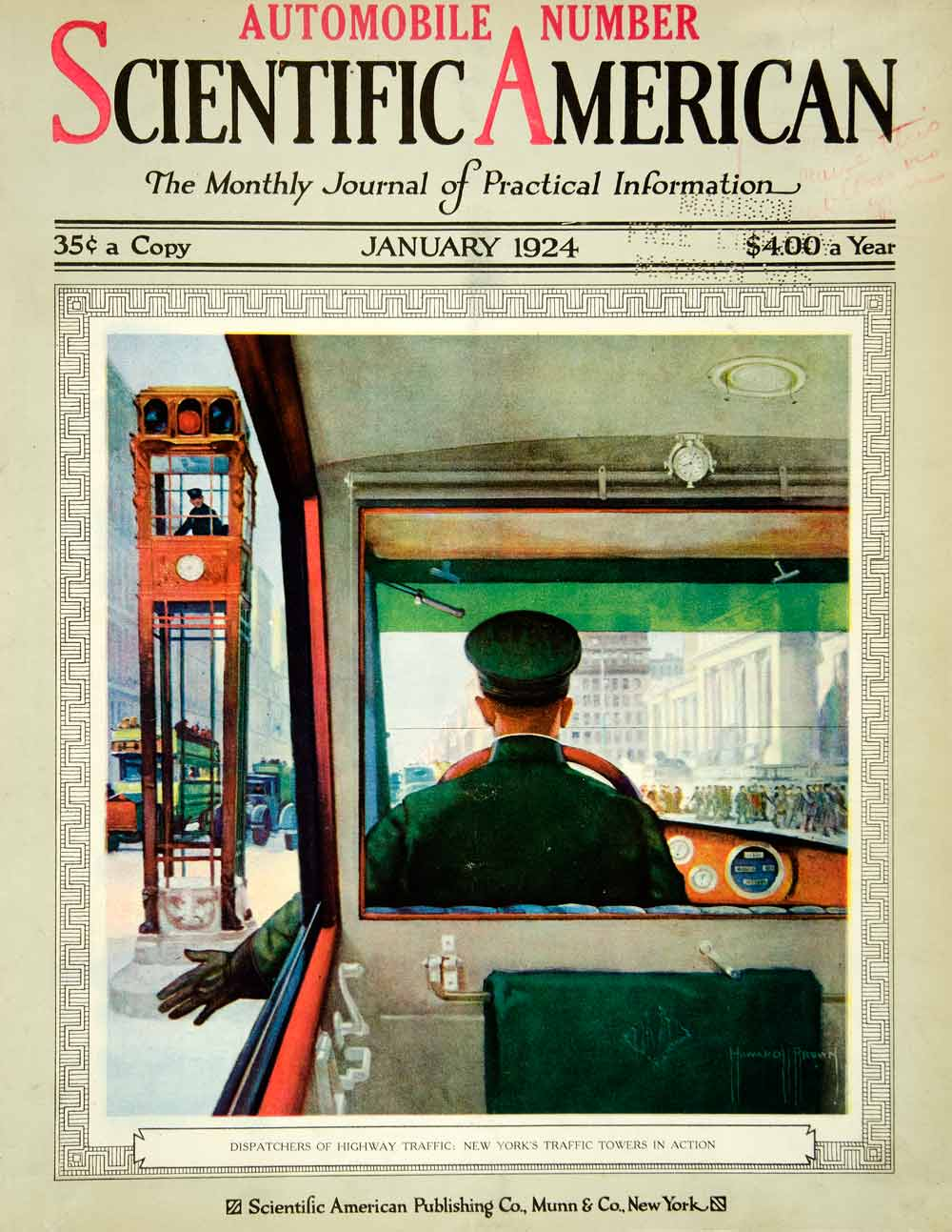 1924 Cover Scientific American New York City Traffic Towers Driver Howard SCA4