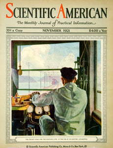 1921 Cover Scientific American Engineer Train Electric Locomotive Howard SCA4