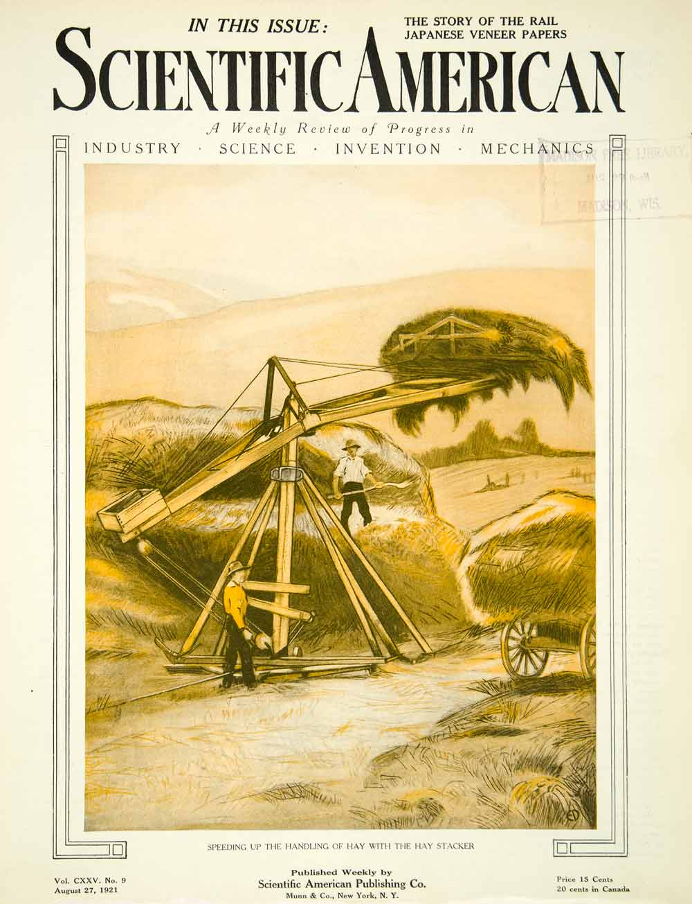 1921 Cover Scientific American Magazine Hay Stacker Field Farmers SCA4