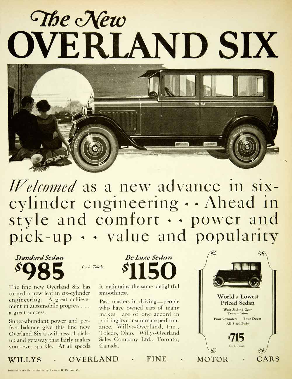1925 Ad Willys Overland Motor Vehicles Six Sedans Toledo Ohio Automobiles SCA4