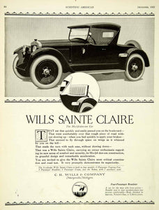 1921 Ad Wills Sainte Claire Roadster Molybdenum Car Automobile Marysville SCA4
